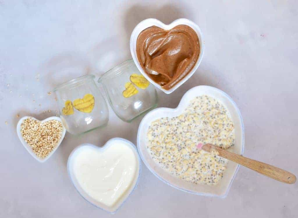 healthy dessert inspired salted caramel overnight oats ingredients