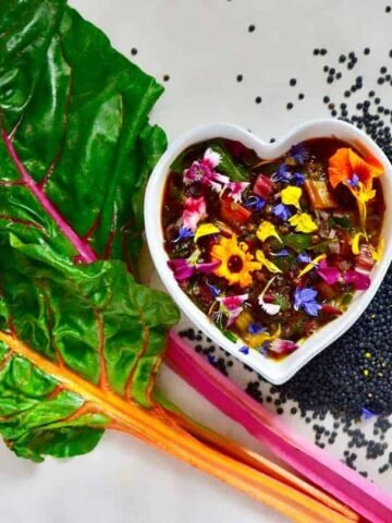 healthy vegan rainbow chard soup