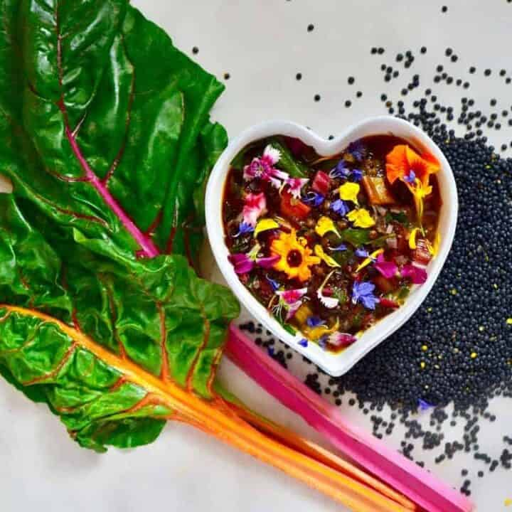 Healthy Lentil Soup with Rainbow Chard