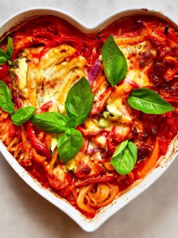 Vegetarian one-pot baked pasta is perfect for a family get together or low-effort mid-week dinner. healthy, meat-free