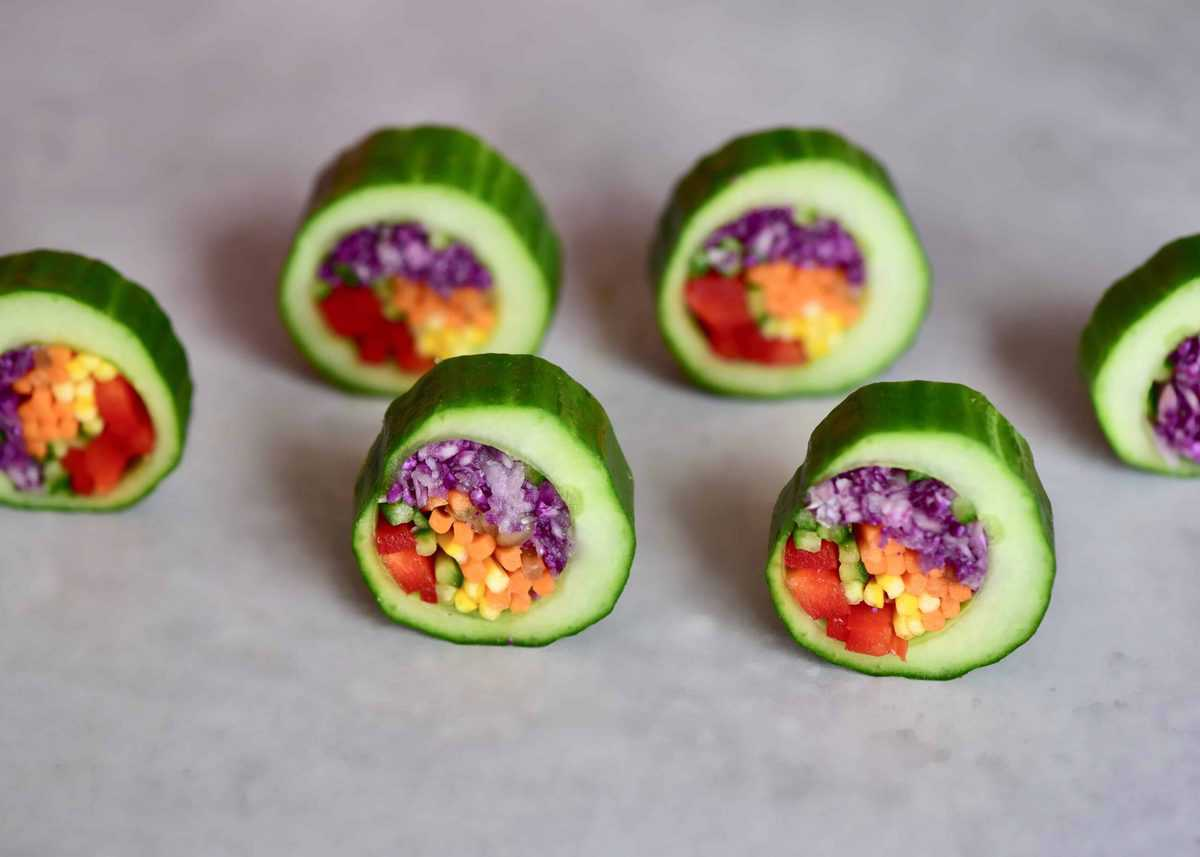 Six Cucumber sushi slices
