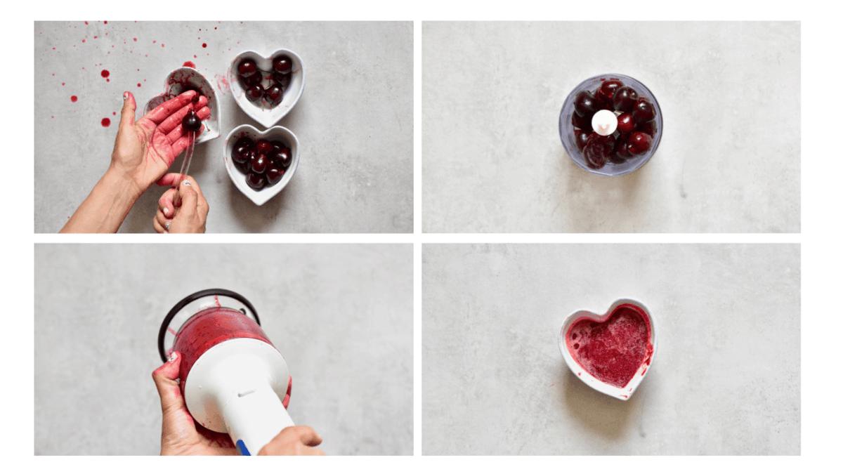 de-seeding cherries and pureeing them