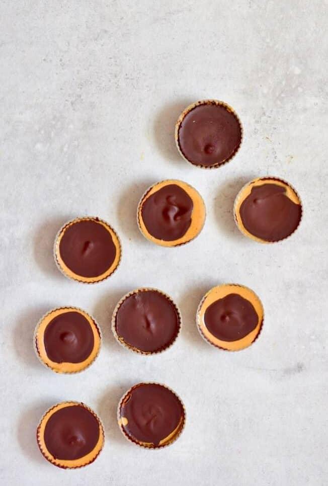 6 Ingredient Healthier Vegan Chocolate Peanut Butter Cups