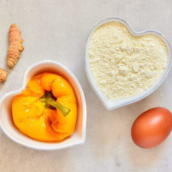 ingredients for homemade yellow pasta with pepper and turmeric