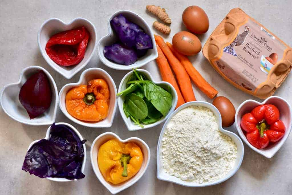 all the ingredients to make all-natural homemade rainbow pasta