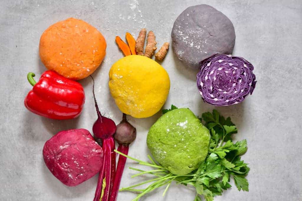 All-Natural Homemade rainbow Pasta dough with beetroot, spinach, cabbage, turmeric and red pepper