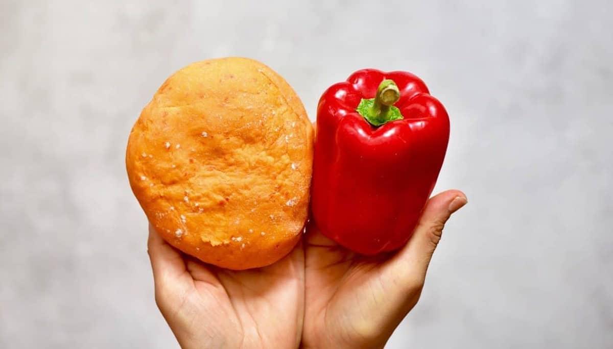 homemade orange pasta using a red pepper