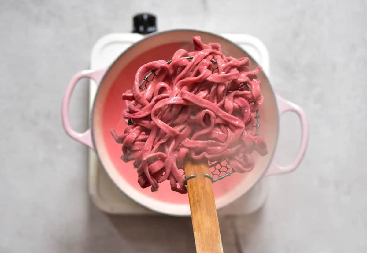 All-Natural Homemade red Pasta from beetroot and carrot
