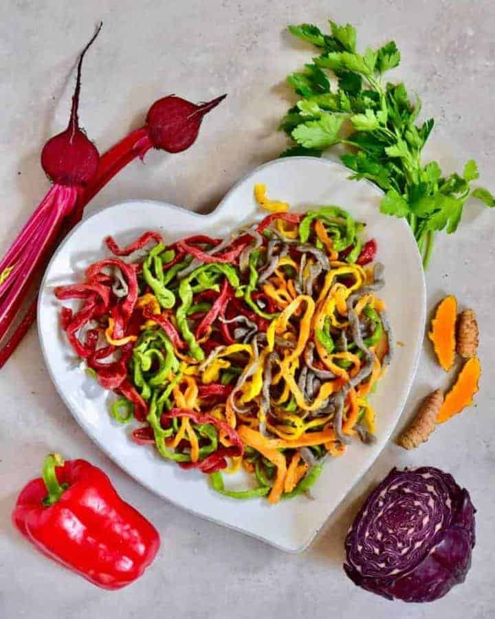 simple, healthy all-natural rainbow pasta