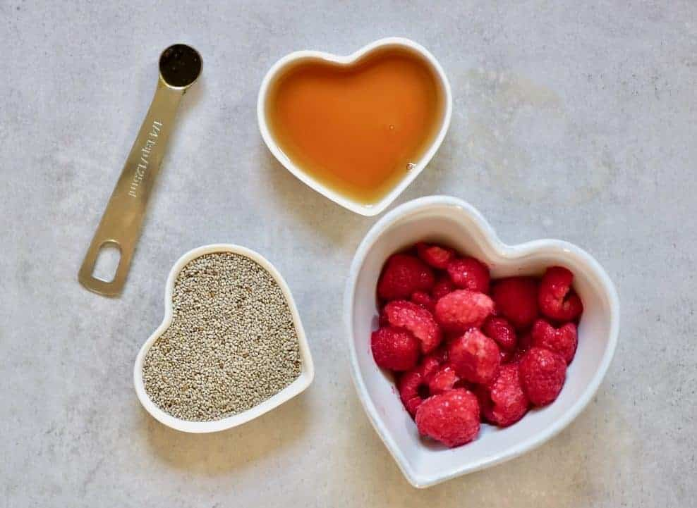 vegan raspberry chia jam ingredients