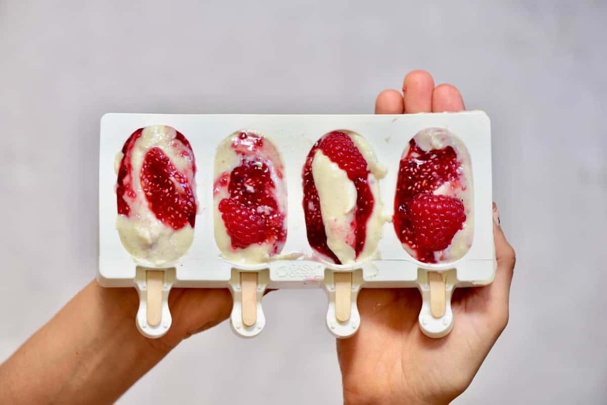 vegan ice-cream bars with raspberry chia jam filling