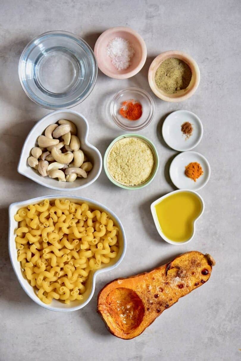 all of the ingredients for creamy vegan mac & cheese with delicious butternut squash vegan cheese sauce