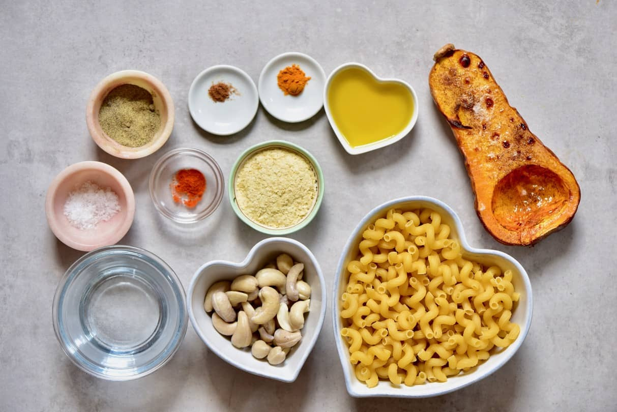 ingredients for creamy vegan mac & cheese with delicious butternut squash vegan cheese sauce