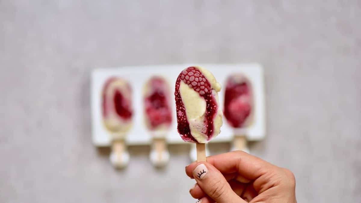 These Vegan salted caramel & Raspberry chia jam vegan 'magnum' style ice-creams are dairy-free, refined sugar free & sure to satisfy!