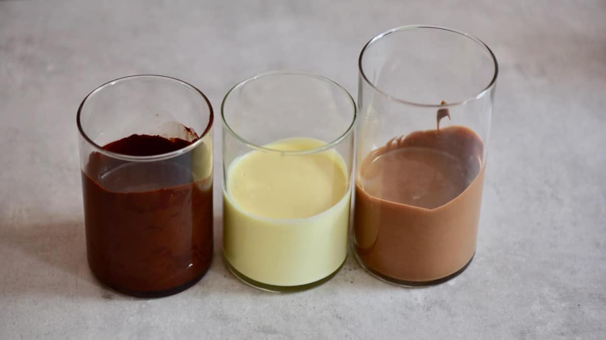 melted dairy-free chocolate in glasses