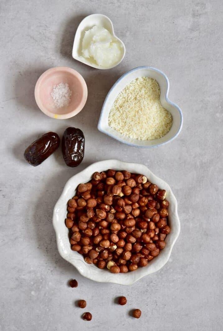 the ingredients for a hazelnut tart crust