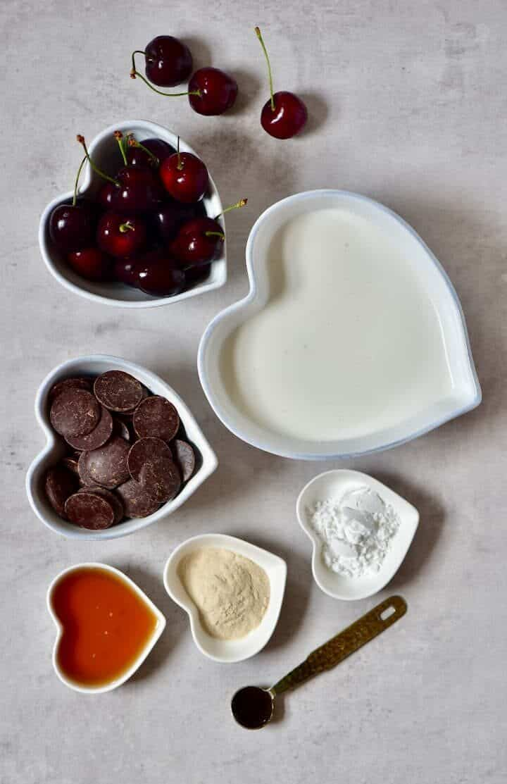 The ingredients for a vegan black forest chocolate cherry tart
