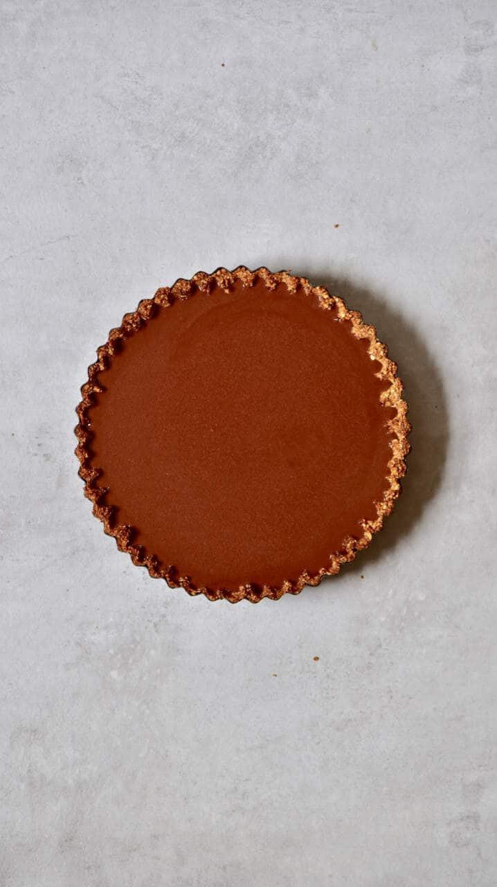 Vegan Chocolate Cherry 'Black Forest' Tart,. refined sugar free, dairy-free