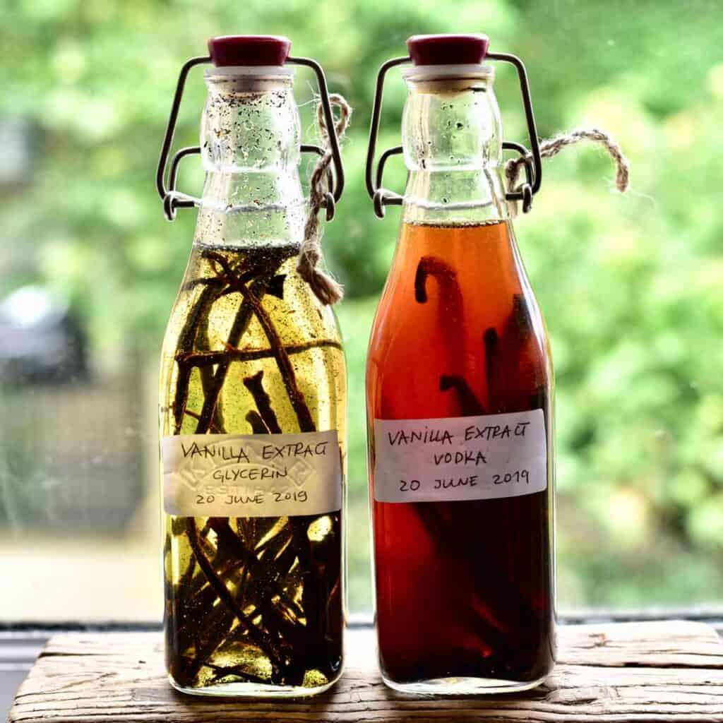 Two bottles with homemade vanilla extract