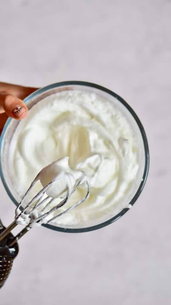 Egg whites whipped into stiff peaks with a mixer