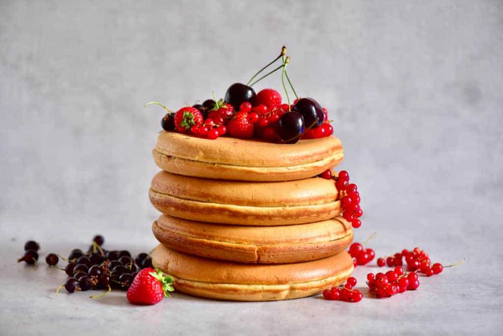 Fluffy Japanese Style Pancake Cake with berries on top