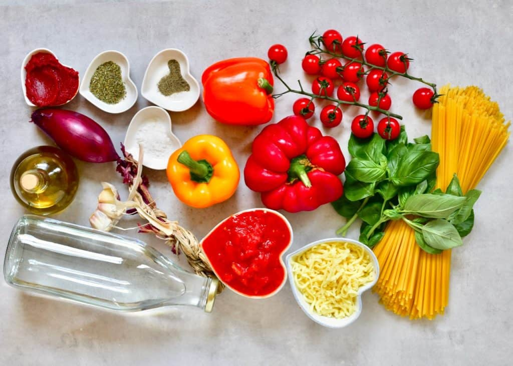 ingredients for healthy vegetarian one-pot pasta bake