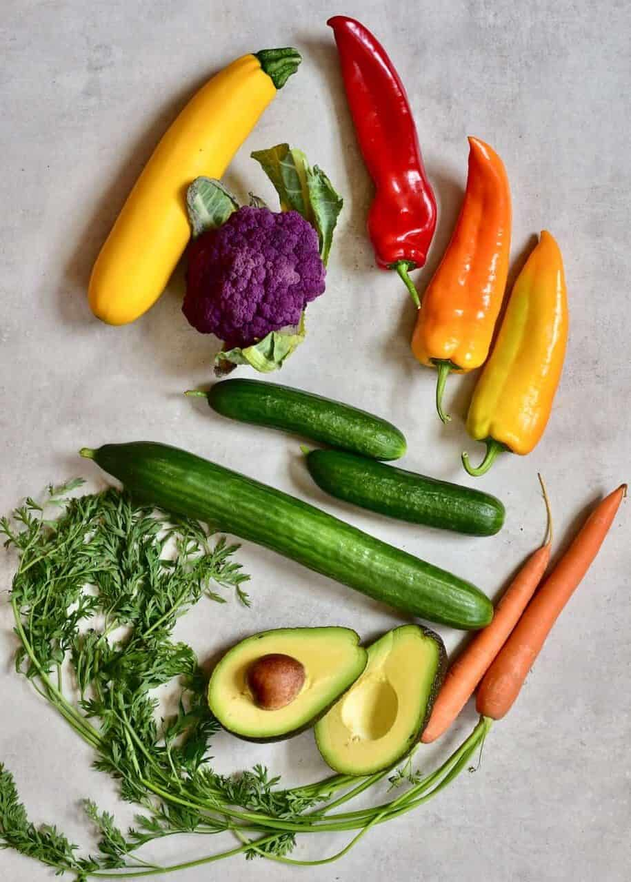 ingredients for 100% plant-based rainbow cucumber sushi