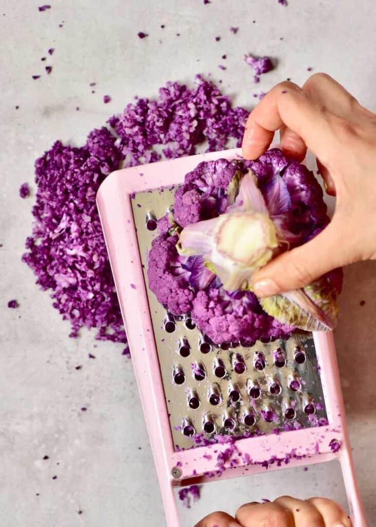 Grated purple cauliflower