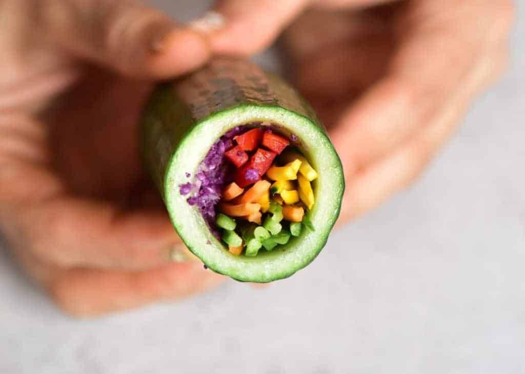 Cucumber stuffed with sliced veggies
