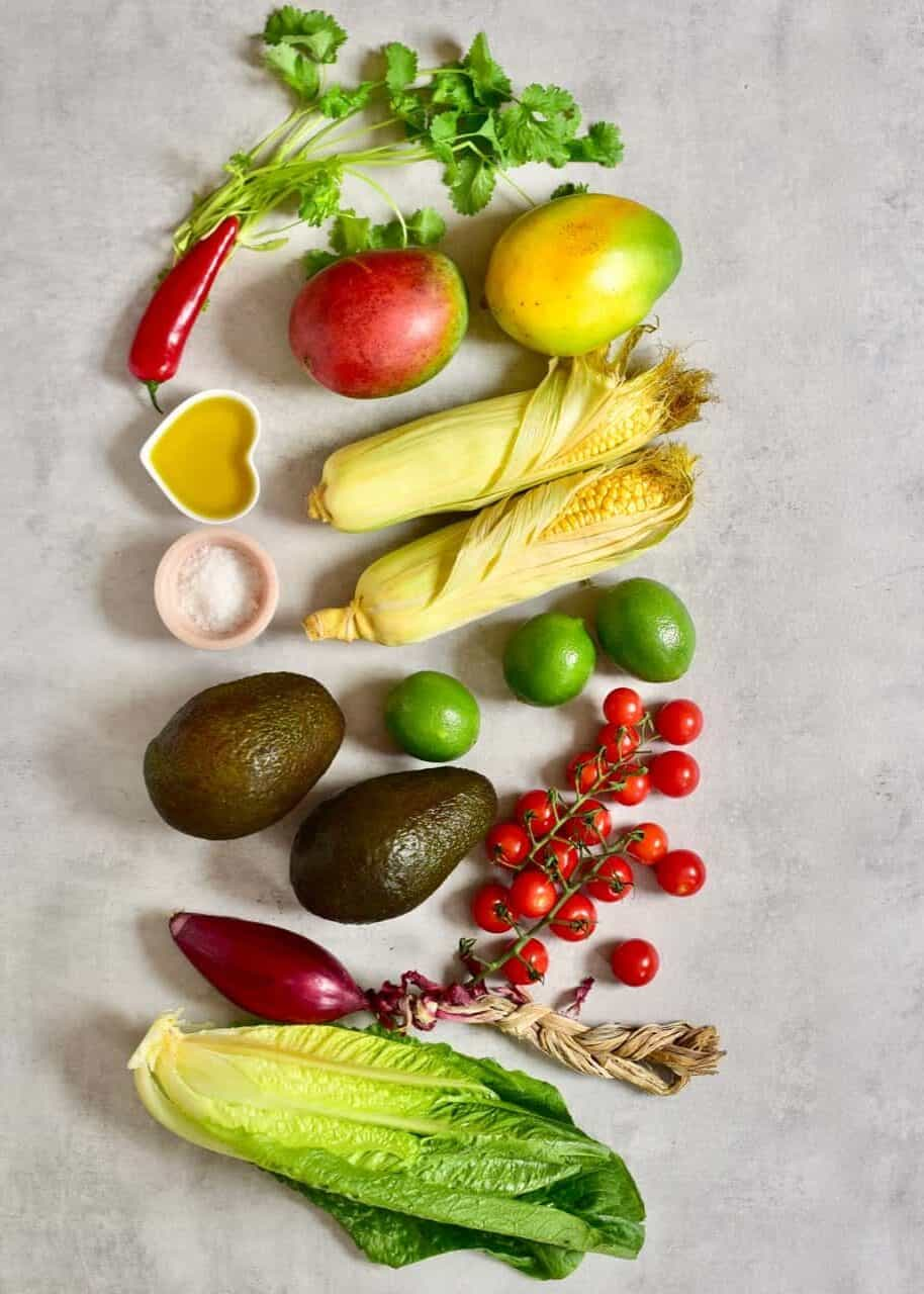 ingredients to making the tropical salad