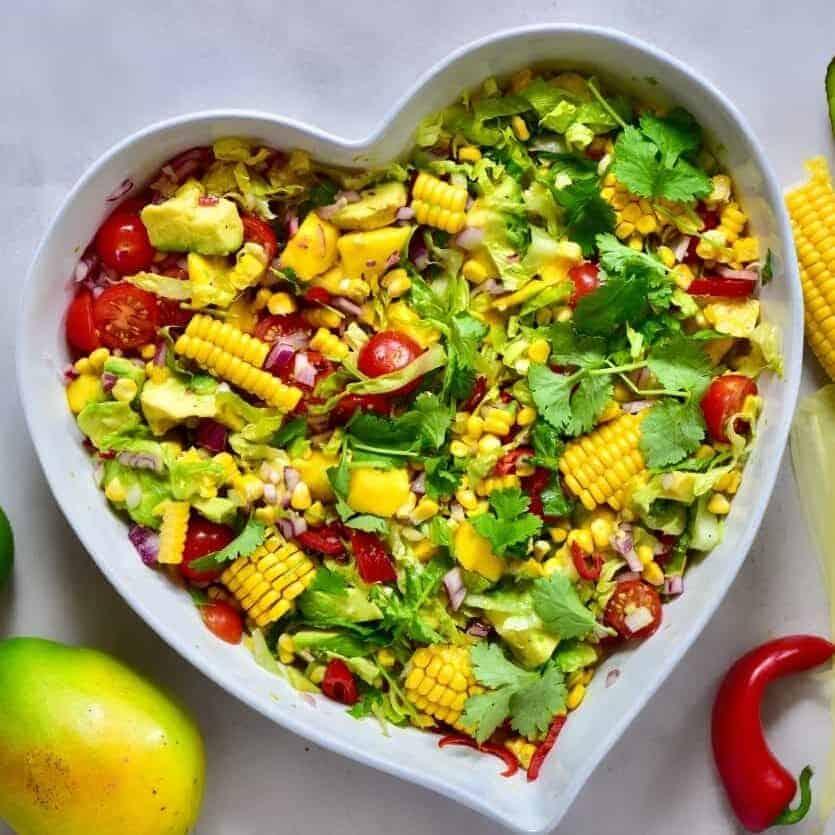 healthy rainbow summer salad with mango, sweetcorn & avocado. vegetarian bbq recipe, healthy lunch, tropical salad