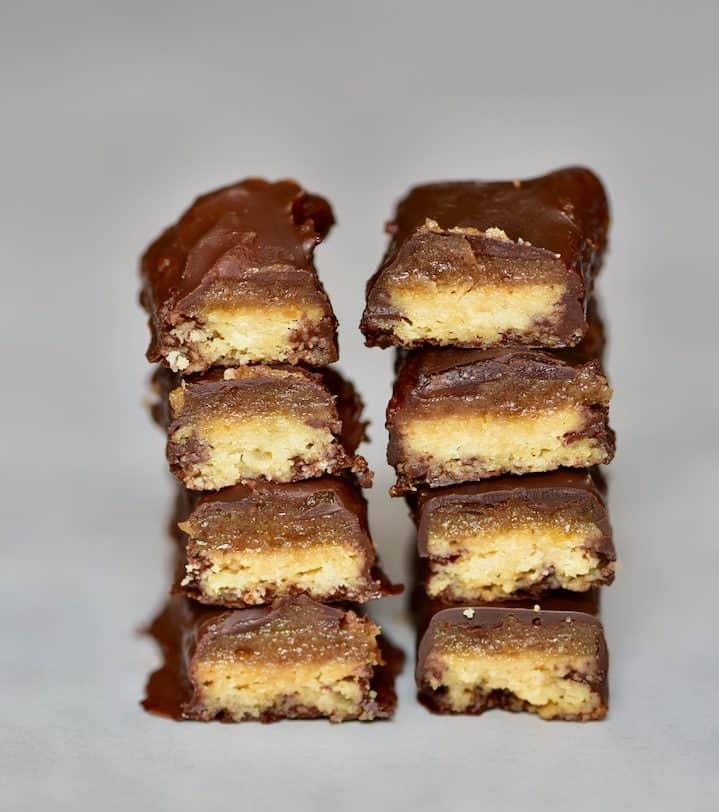Healthy vegan twix bars - guilt-free snack that is refined sugar-free, dairy-free, gluten-free