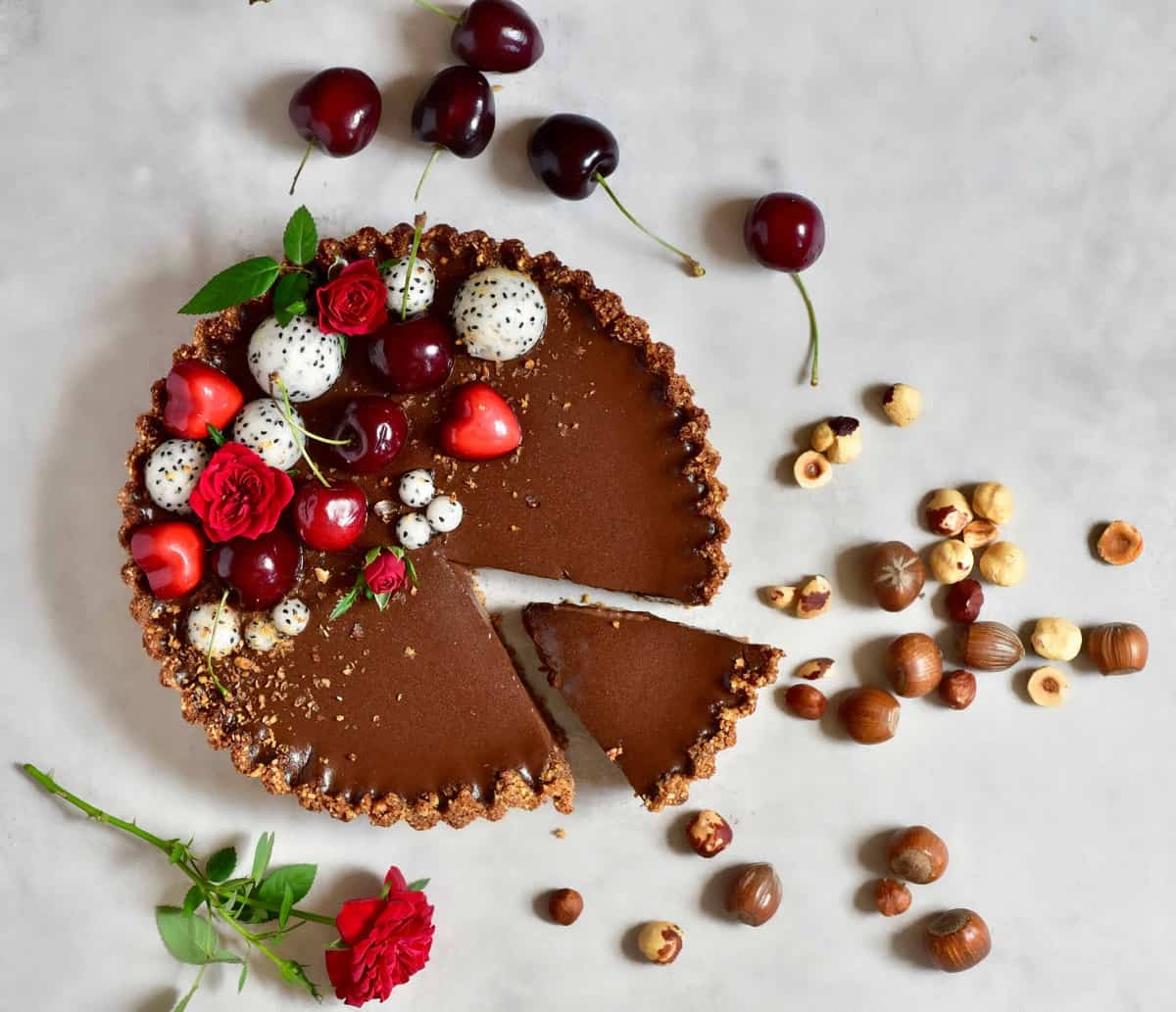 Vegan Chocolate Cherry 'Black Forest' Tart with a hazelnut tart crust