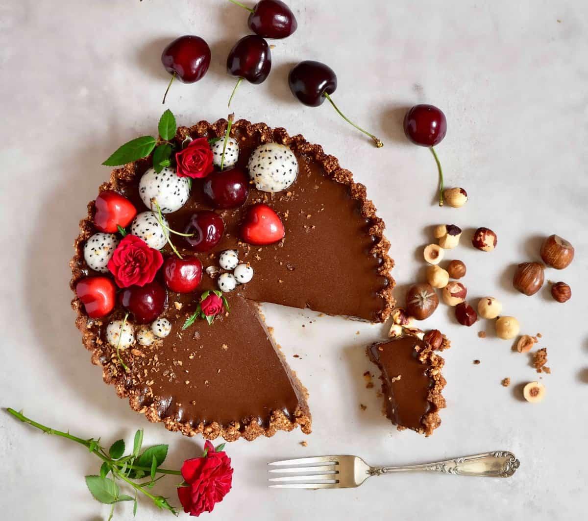 refined sugar free Vegan chocolate cherry ' black forest' tart