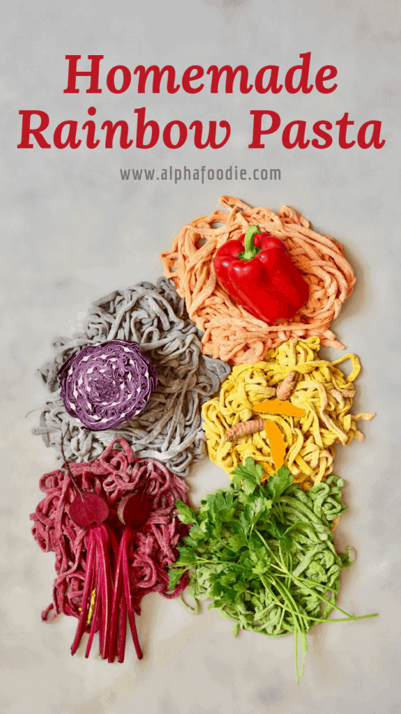 all-natural homemade rainbow pasta using edible vegetables to colour the pasta dough