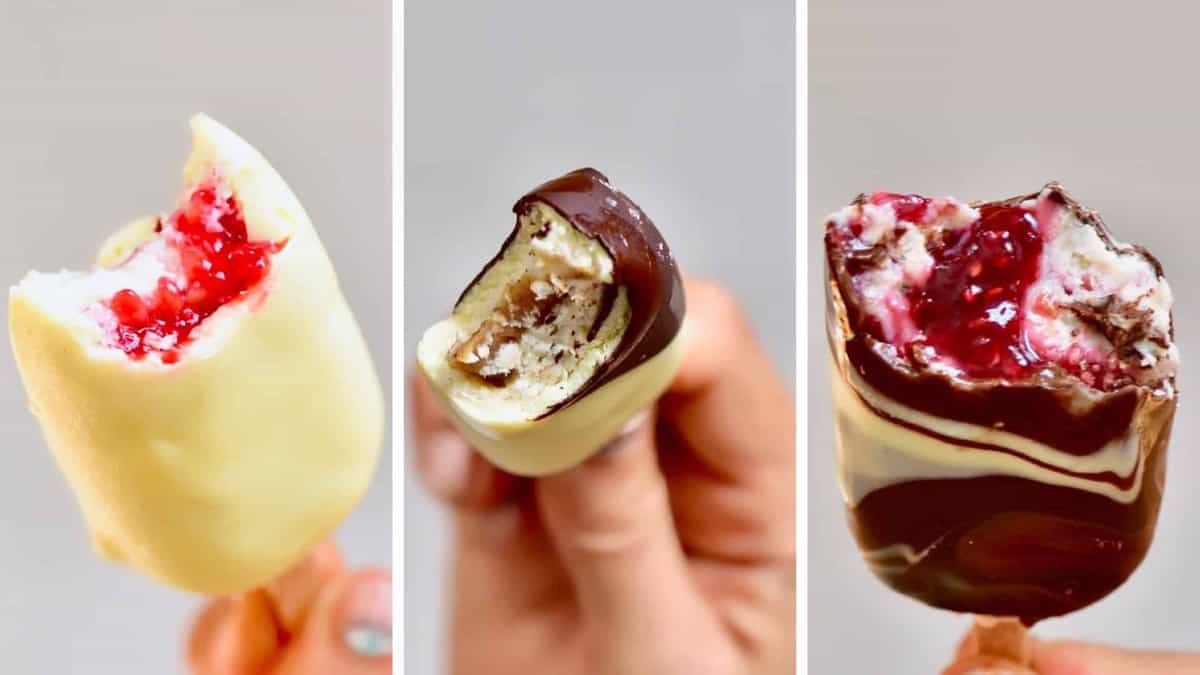 vegan ice cream recipe for magnum inspired stuffed ice cream - raspberry jam and salted caramel options