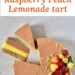 Two-layer Raspberry Peach & Lemonade Tart with refined sugar free vegan fillings