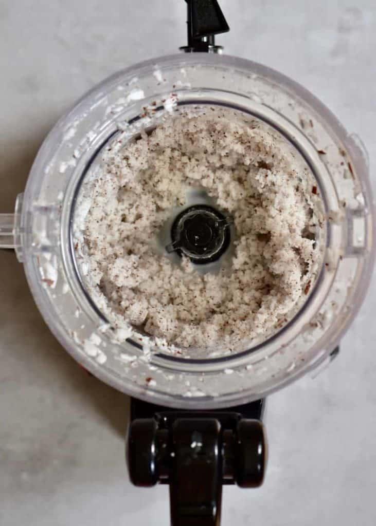 processed coconut meat inside a food processor