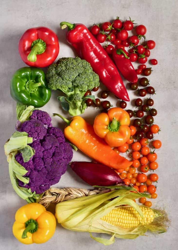 rainbow colorful vegetables