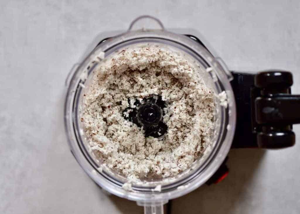 Blended coconut meal in a blender