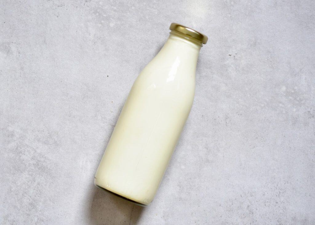 raw milk used to make homemade butter.