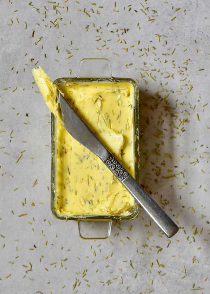 DIY: Homemade Herb Butter ( Compound butter). flavoured butter with rosemary