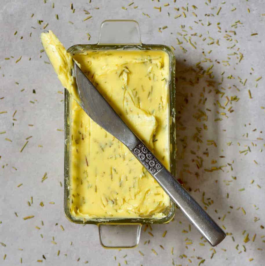 DIY: Homemade Herb Butter (Compound butter) flavored with rosemary