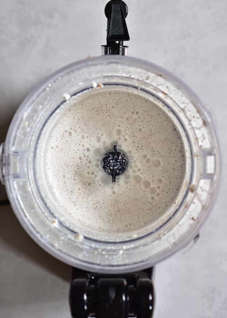 Almond milk in a blender