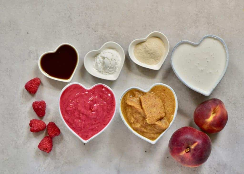 ingredients for a dairy-free raspberry and peach tart filling