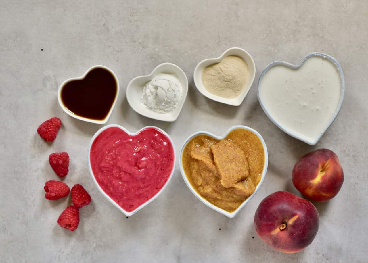 Ingredients for peach and raspberry filling