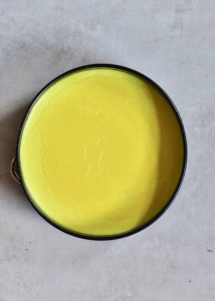 vegan lemon tart filling for a peach, raspberry and lemon tart.