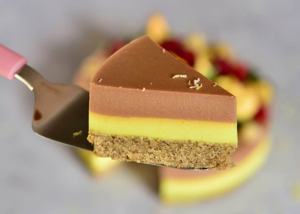 a side view slice of Two-layer Raspberry Peach & Lemonade Tart