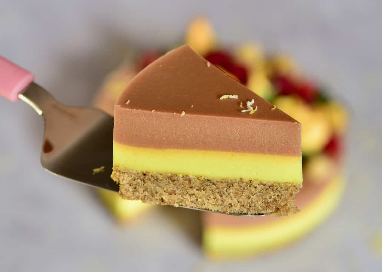 a side view slice of Two-layer Raspberry Peach & Lemonade Tart
