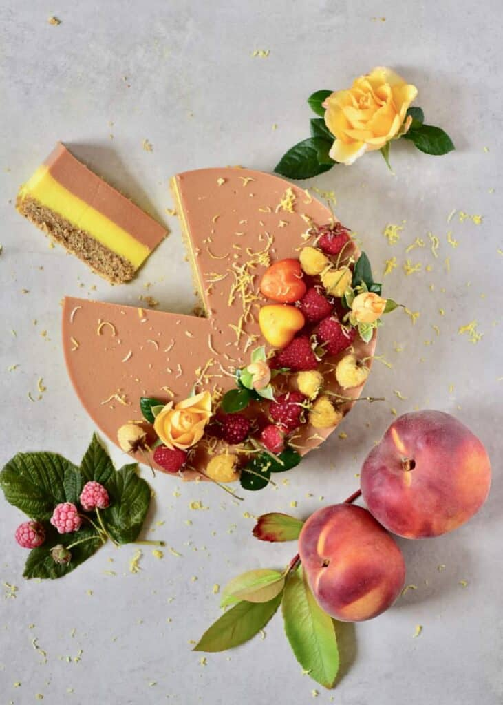 Two-layer Raspberry Peach & Lemonade Tart with vegan fillings